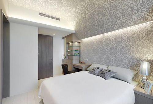 简约风带纹理卧室设计效果图