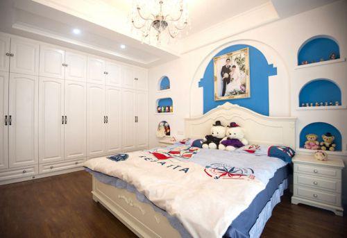 地中海风格浪漫蓝色卧室装修效果图片