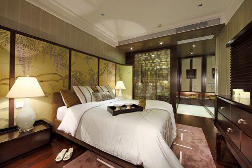 中式风格素雅黄色卧室装修布置