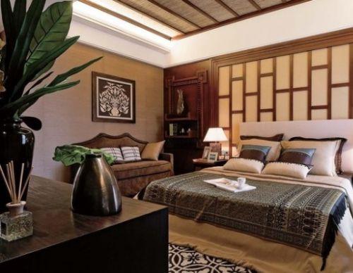 东南亚风格素雅灰色卧室装修效果图