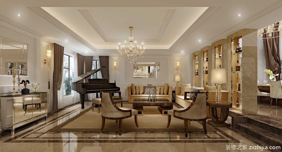 欧式奢华舒适别墅装修客厅效果图