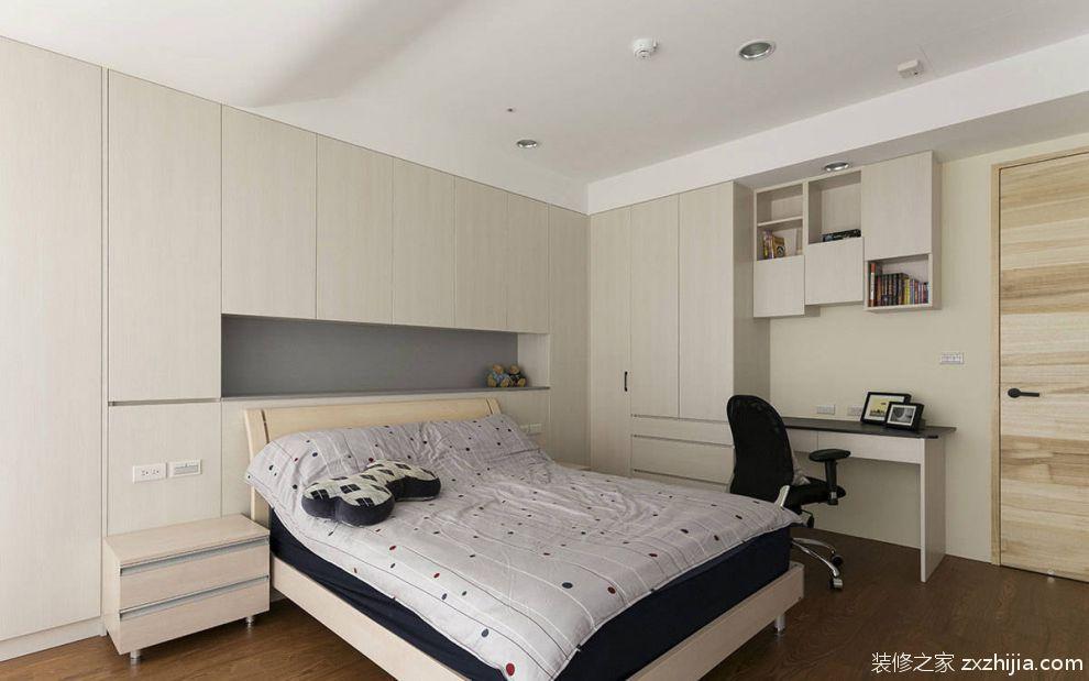 现代简约卧室床头收纳柜装修案例