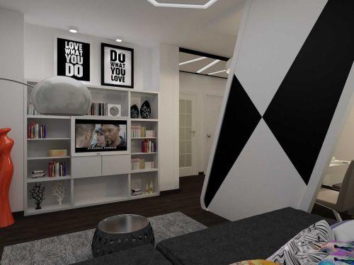 小户型简约创意客厅收纳柜设计