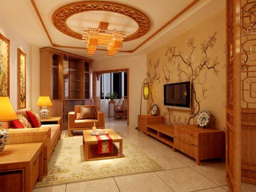 现代极简三房客厅吊顶效果图片