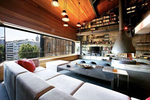 现代复式阁楼客厅效果图