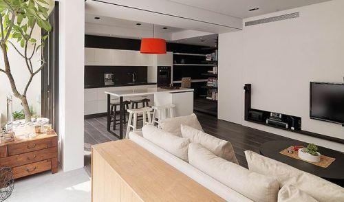 现代风格黑白公寓客厅效果图