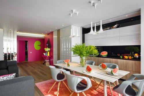 现代彩色梦幻公寓客厅效果图