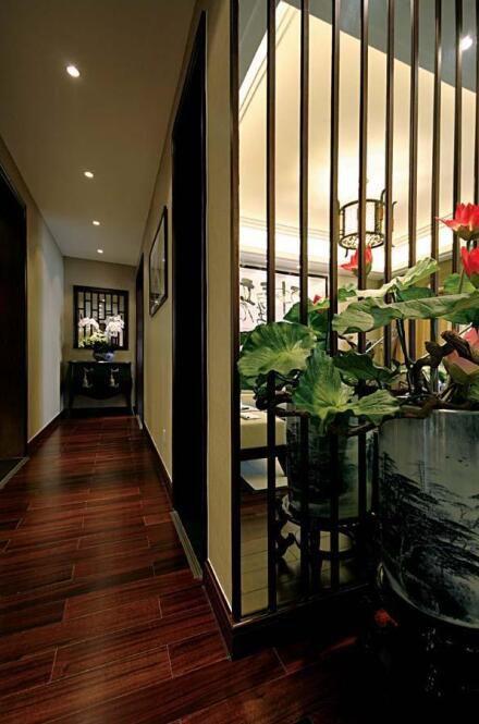 现代中式风格客厅过道设计效果图