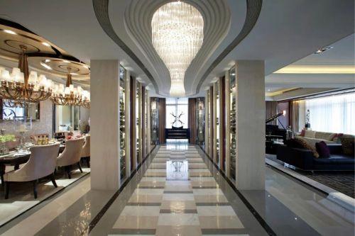 现代欧式风格客厅餐厅过道效果图