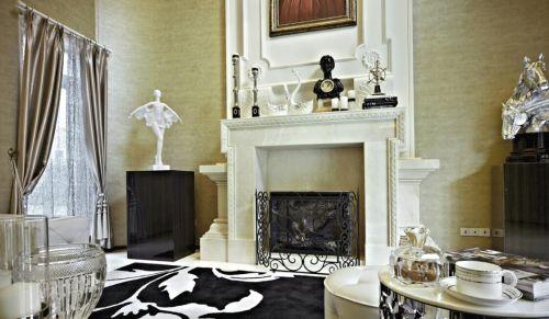 130平现代简约欧式风格客厅壁炉设计