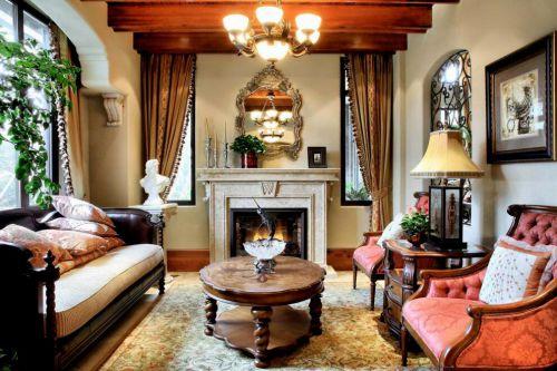 古典欧式风格别墅客厅壁炉效果图