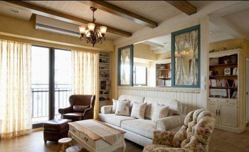 83平米舒适美式风格客厅书房隔断设计