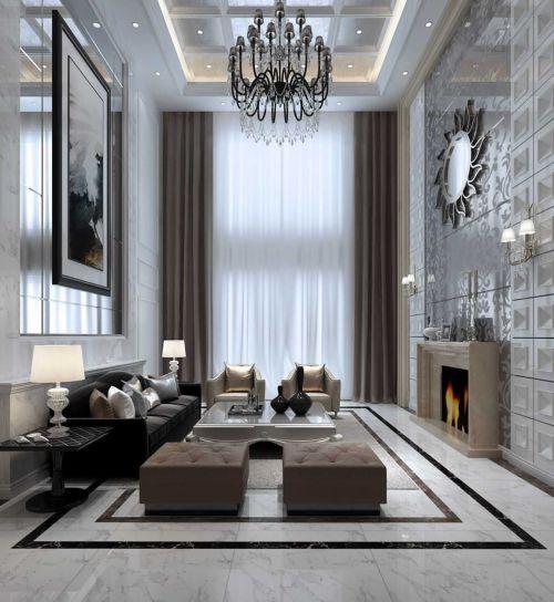 美式挑高客厅壁炉设计