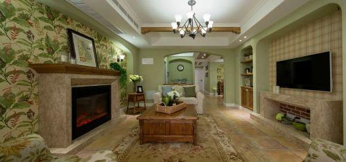 最新美式客厅壁炉效果图