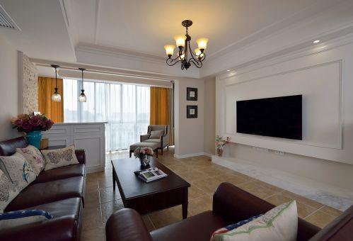 120平美式家居客厅飘窗图片