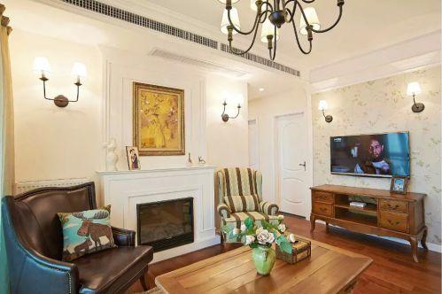 美式风格客厅壁炉效果图