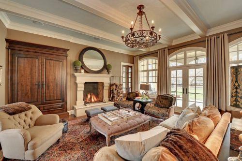 美式简约装修客厅壁炉图片