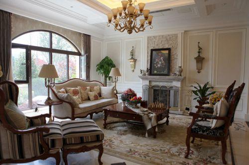 美式古典风格三居室客厅壁炉效果图