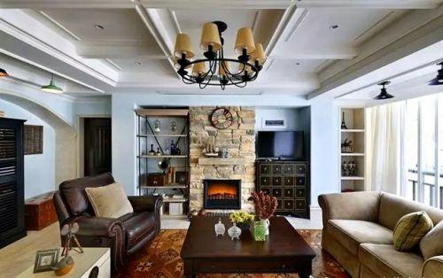 美式混搭风格客厅壁炉效果图
