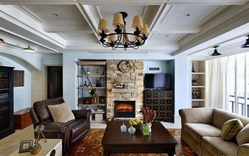 148平复式美式混搭设计客厅吊顶