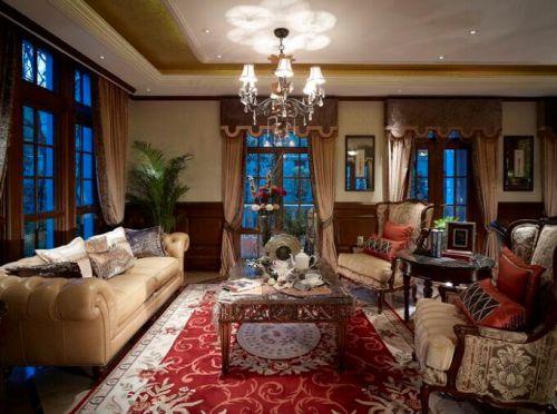 118平美式风格别墅客厅吊顶效果图