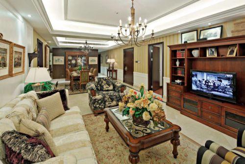 美式复古客厅设计效果图片