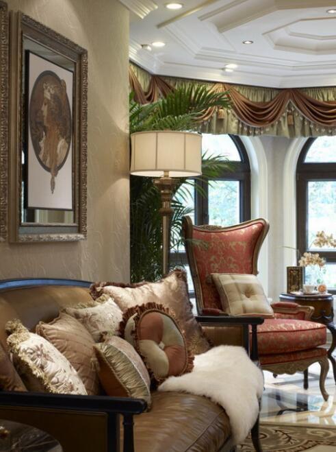 120平现代美式风格别墅客厅沙发图片
