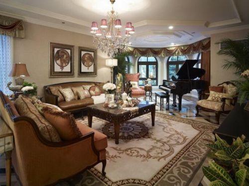 120平现代美式风格别墅客厅瓷砖图片