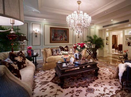 135平现代美式风格客厅水晶灯图片