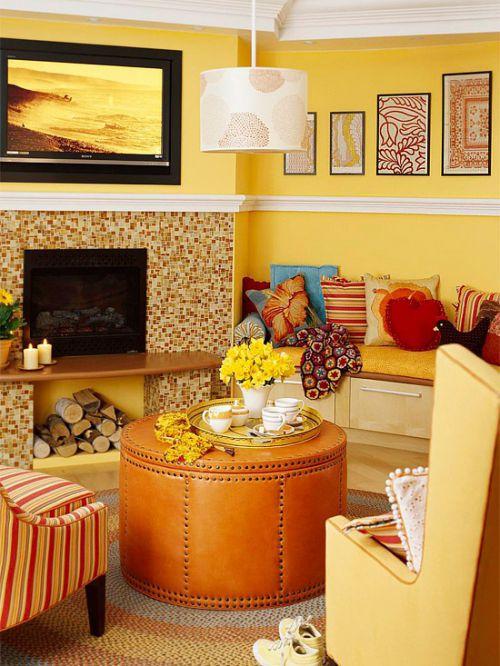 黄色混搭家居客厅壁炉设计