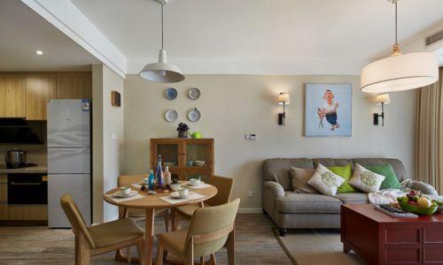 清新文艺混搭风公寓客厅沙发背景墙装修设计