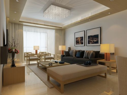 日式现代三居客厅吊顶图片