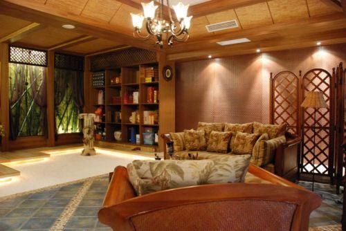东南亚风格客厅收纳柜装修效果图