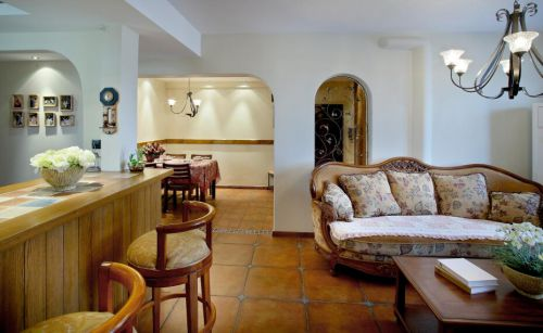 舒适地中海风格客厅吧台效果图