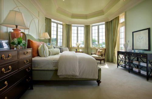 112平大气美式风格别墅卧室飘窗设计