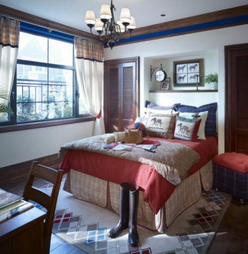92平简约美式风格卧室飘窗效果图