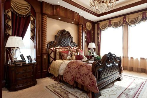 美式风格卧室床头柜窗帘装修图片