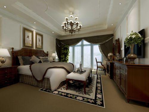 美式复古装修卧室窗帘图片