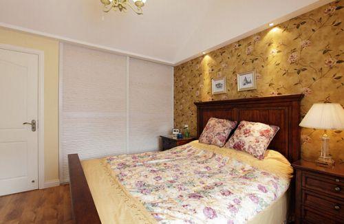 110平米美式小清新风格三居室卧室壁纸效果图