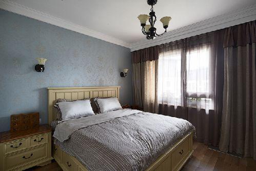 120平美式混搭家居卧室飘窗欣赏