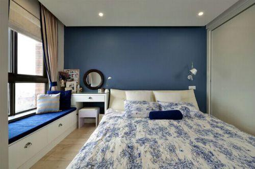 湛蓝之家美式卧室飘窗设计
