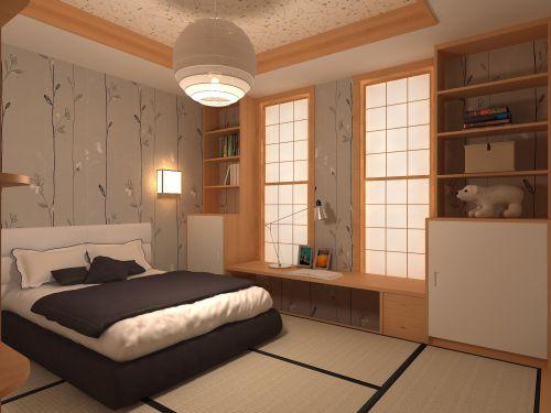 日式风格榻榻米卧室效果图