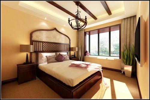 东南亚名族风四居室卧室背景墙装修图片