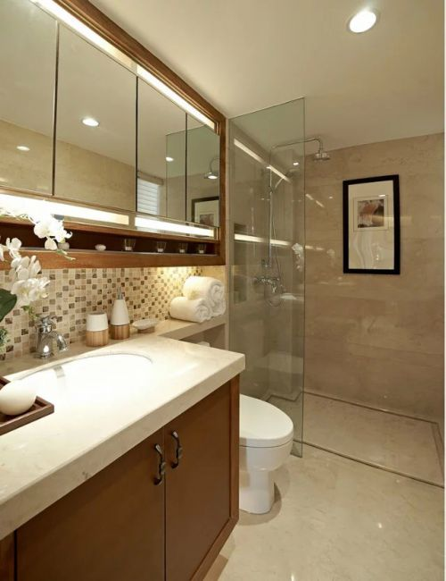 中式卫生间浴室柜家装效果图