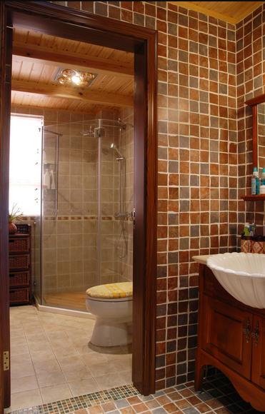 135平米温馨田园风格三居室卫生间装修效果图