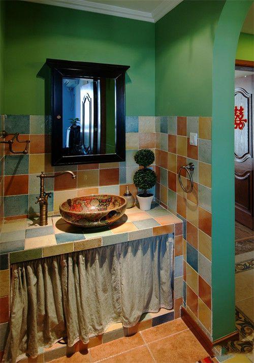 君悦金沙 田园家居卫生间洗手台设计
