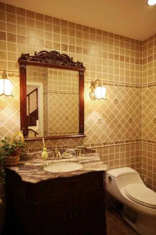 大气美式风格别墅卫生间背景墙设计