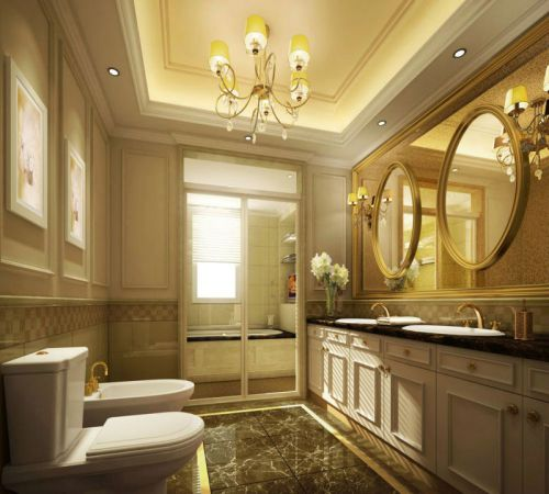 时尚美式风格四居室卫生间吊顶装修设计