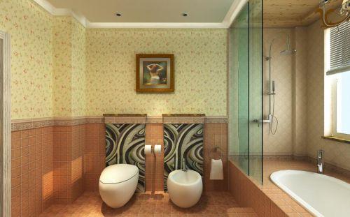 地中海风格卫生间瓷砖背景墙图片