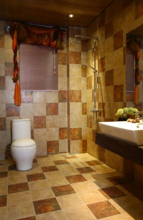 东南亚风格卫生间瓷砖装修效果图